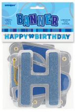 Blue Glitz Hinged 'Happy Birthday' Banner